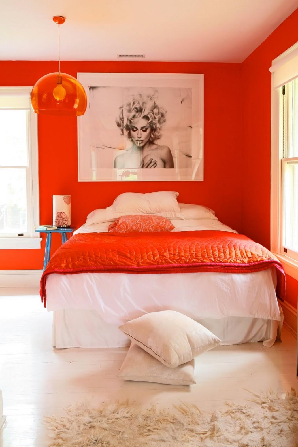 Orange Walls In A Bed Room  Interior Design Ideas - Bedroom Ideas Orange
