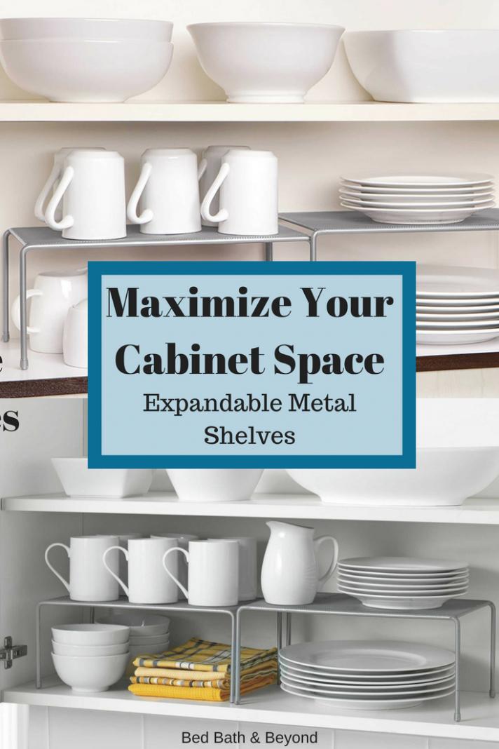 ORG Metal Mesh Expandable Cabinet Shelves in Metallic Chrome (Set  - Org Metal Mesh Kitchen Cabinet Organizer