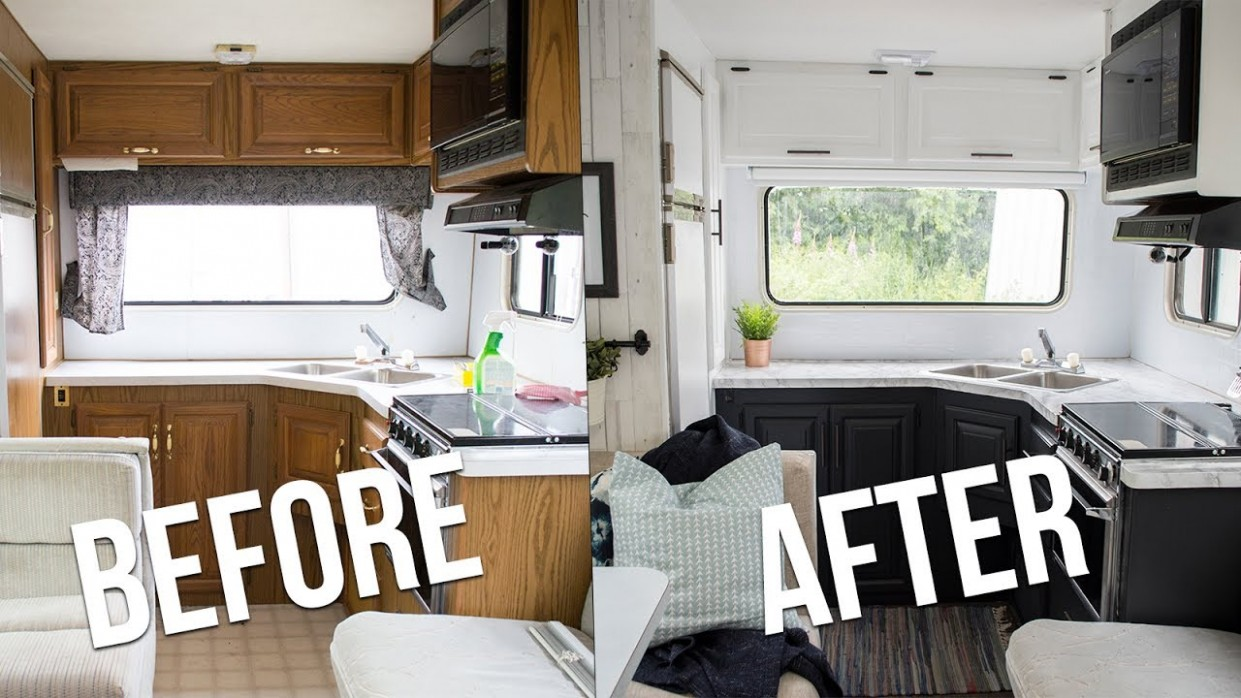 OUR DIY CAMPER KITCHEN REVEAL  How to Paint Oak Cabinets in an RV  The  DIY Mommy - Motorhome Kitchen Cabinets
