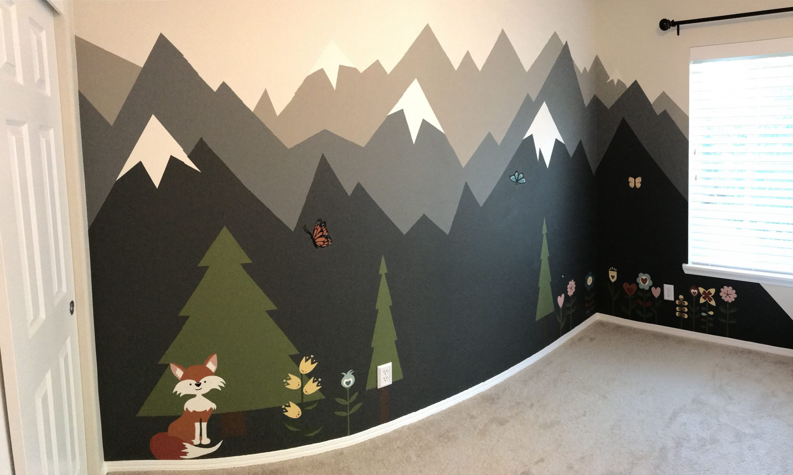 Our PNW Inspired Nursery - Painted Wall Mural  Nursery wall  - Baby Room Wall Painting