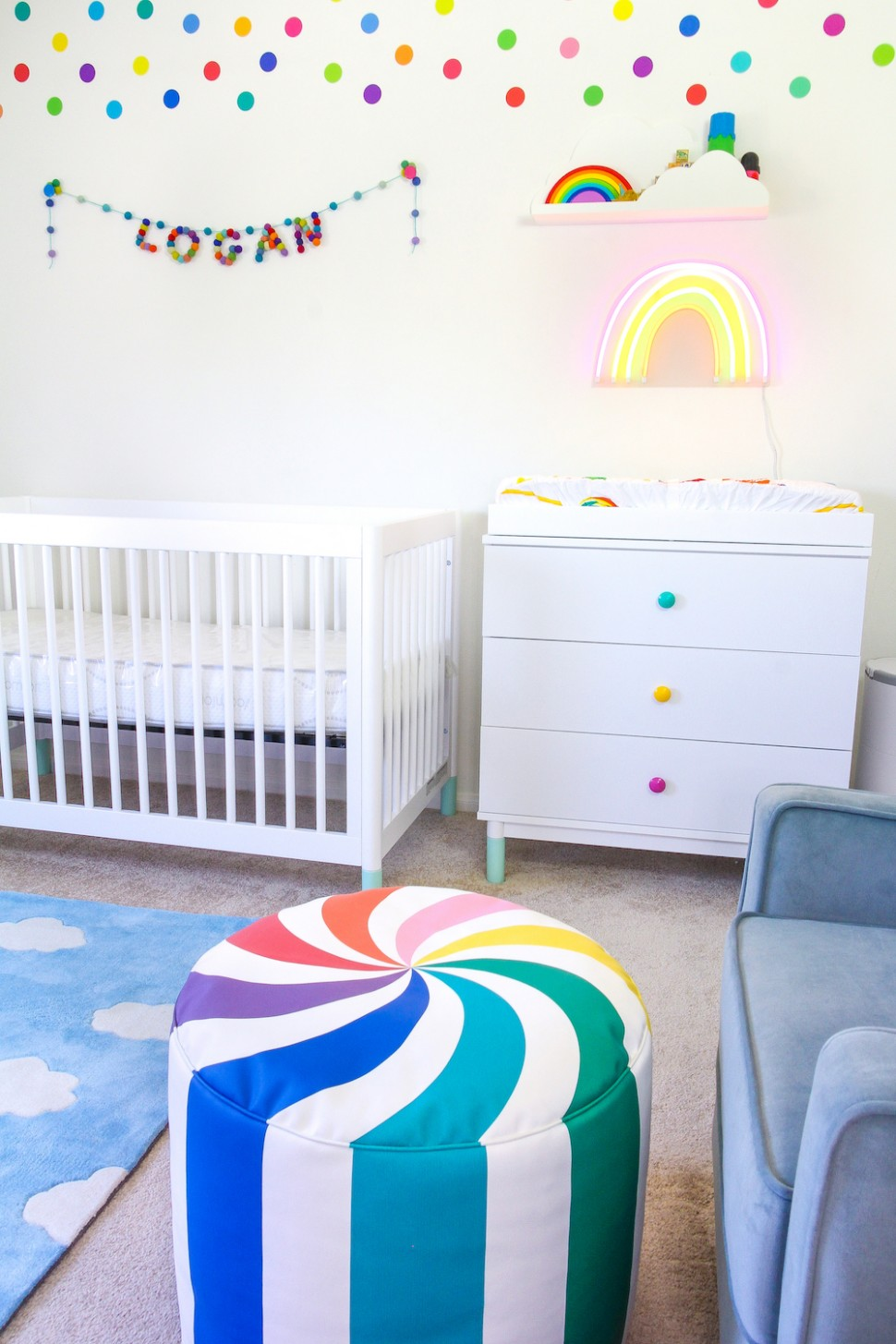 Our Rainbow Bubbly Baby Nursery Reveal! ⋆ Brite and Bubbly - Baby Room Rainbow