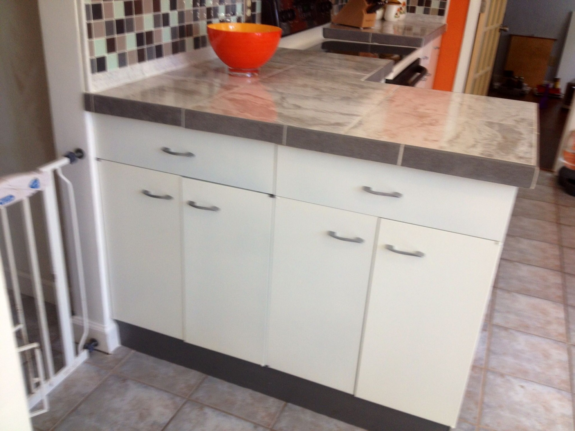 Our vintage St. Charles metal kitchen cabinets