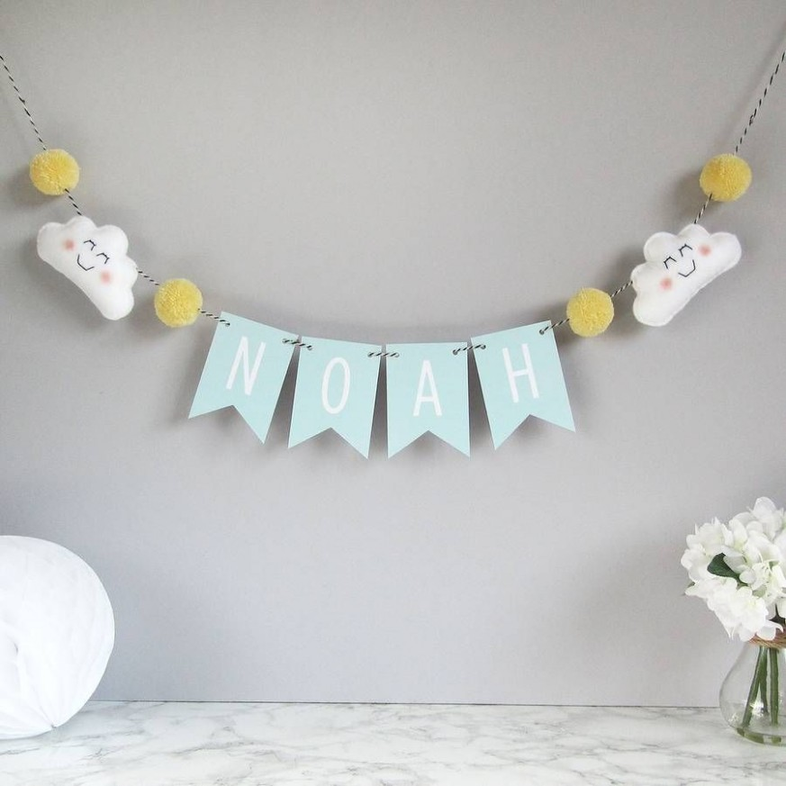 Personalised cloud name bunting with mini pom poms  Name bunting  - Baby Room Bunting
