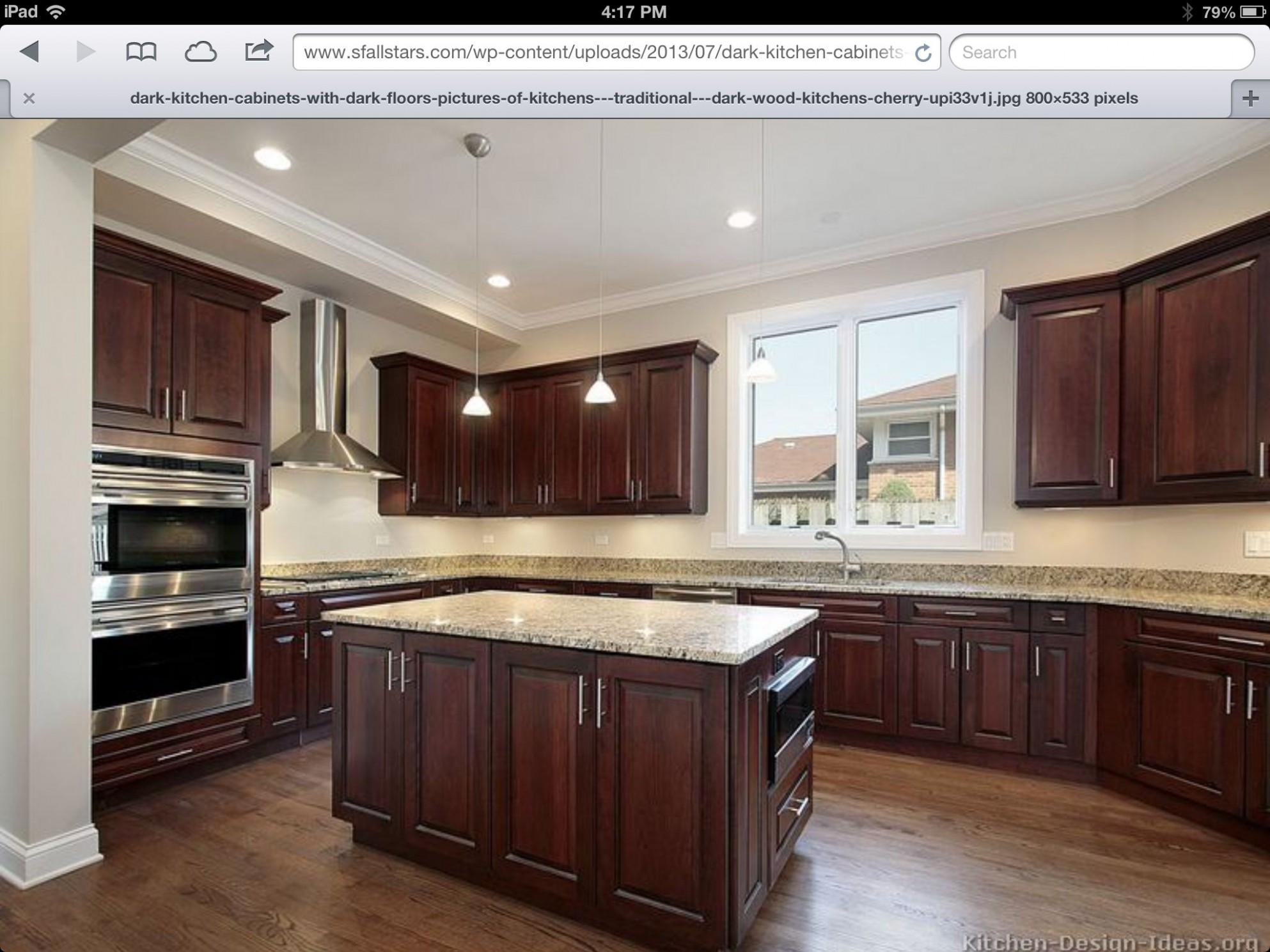 Pin by Jill Magda on House  Kitchen cabinets and flooring, Cherry  - What Color Kitchen Cabinets With Dark Hardwood Floors