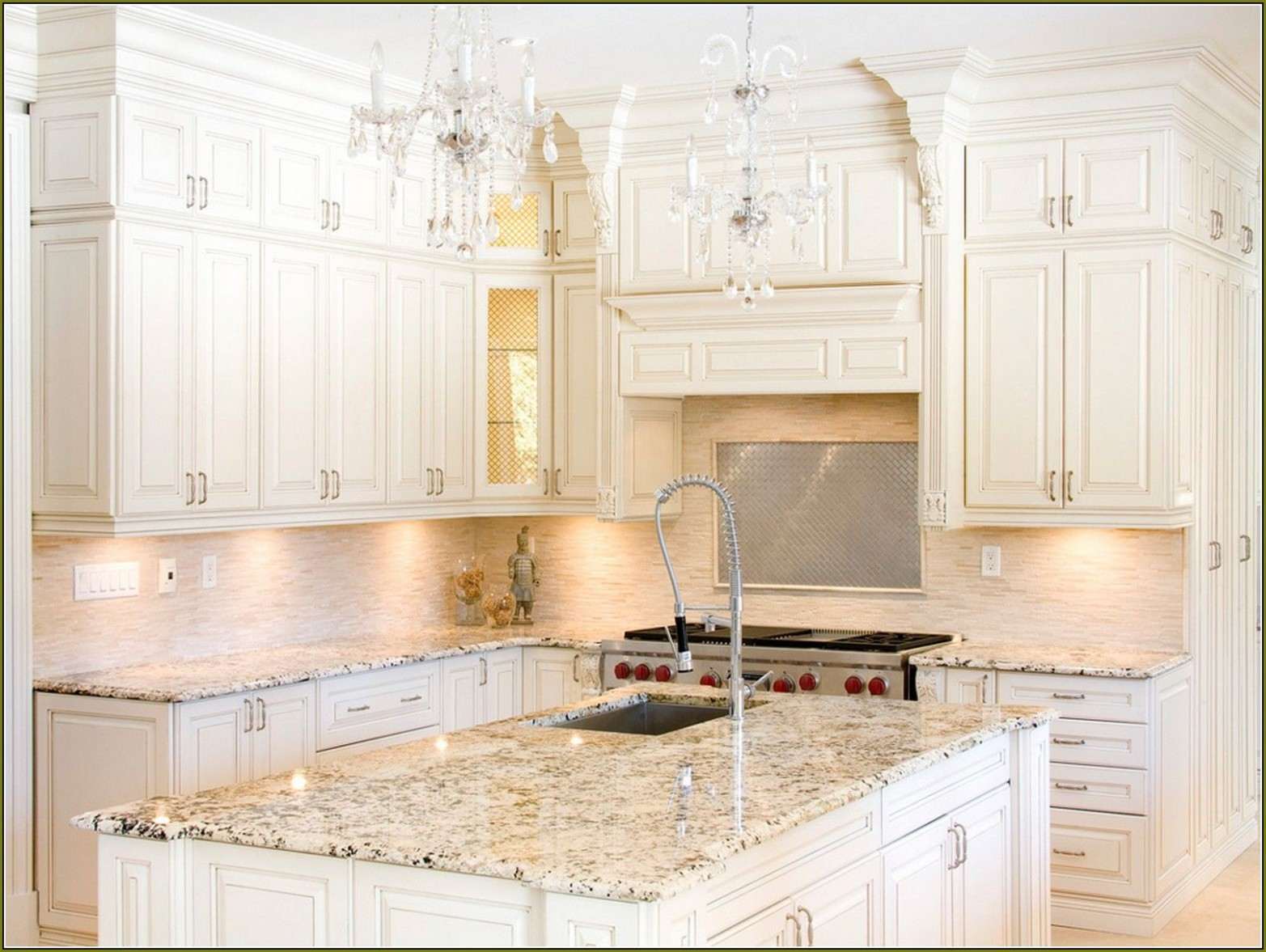 Pin on Kitchens - Antique White Kitchen Cabinets With Granite Countertops