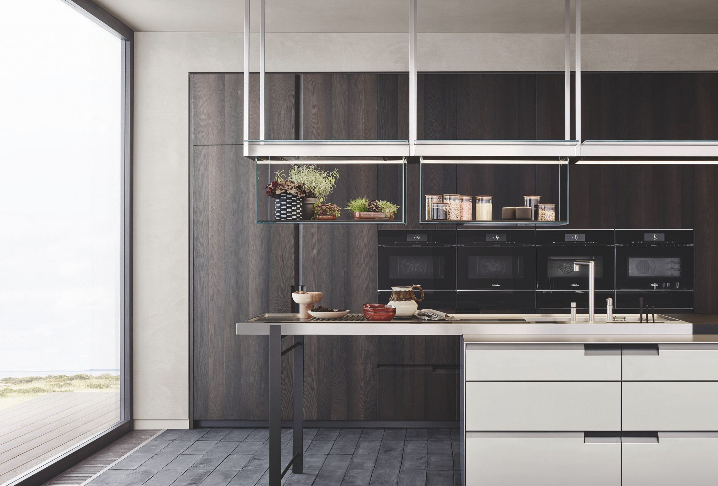 Poliform Debuts Line That Blends Living Room With Kitchen  - Integrated Kitchen Cabinets