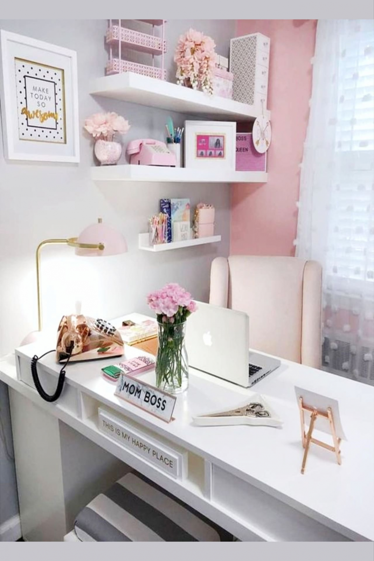 Pretty Home Office Ideas For Women - Beautiful Glam Chic Home  - Home Office Ideas Cute