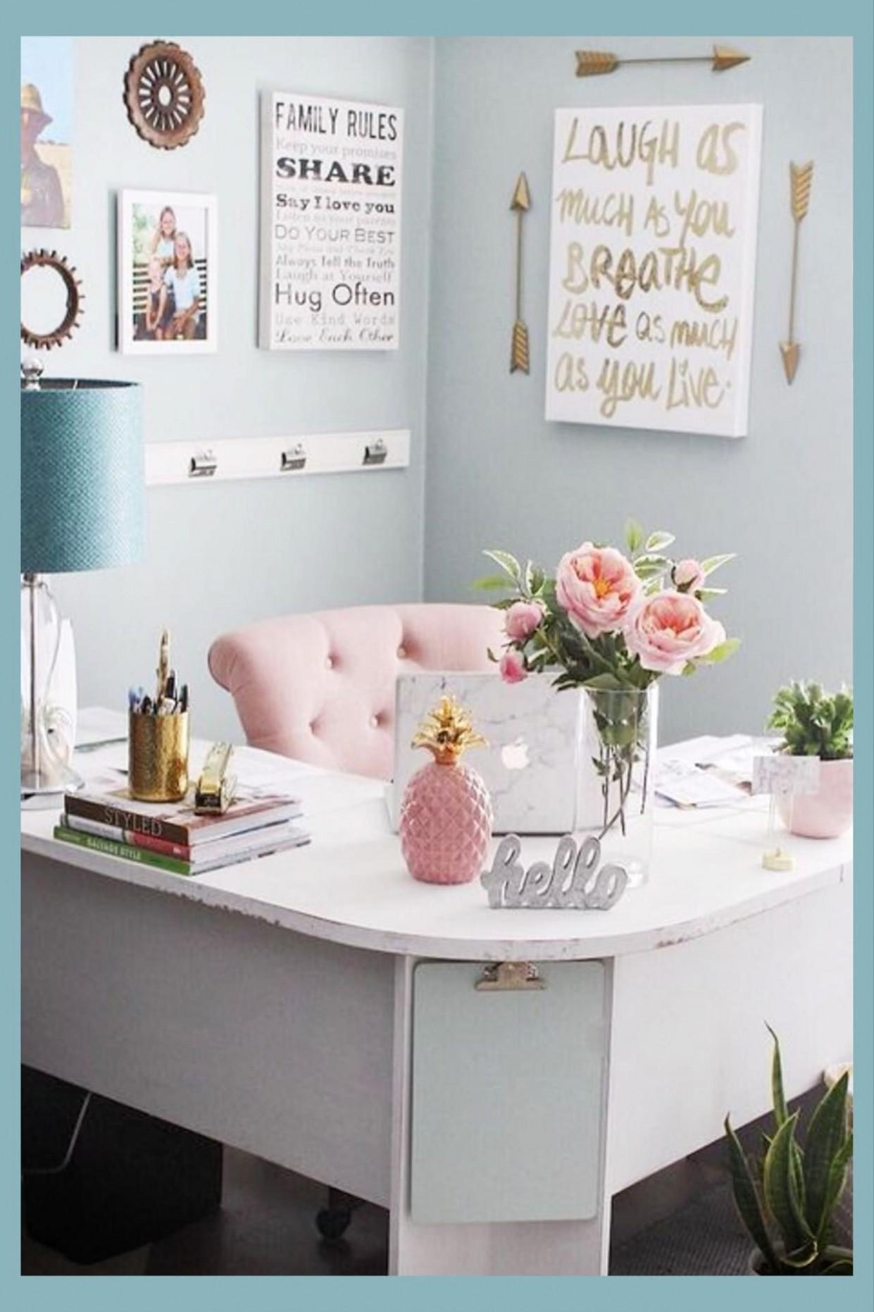 Pretty Home Office Ideas For Women - Beautiful Glam Chic Home  - Home Office Ideas For Her