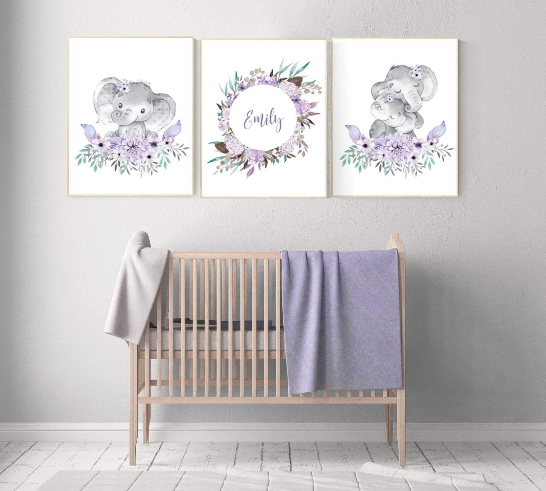 Purple teal nursery, Boho baby room, elephant nursery, nursery decor girl,  floral, lilac lavender - Baby Room Elephant