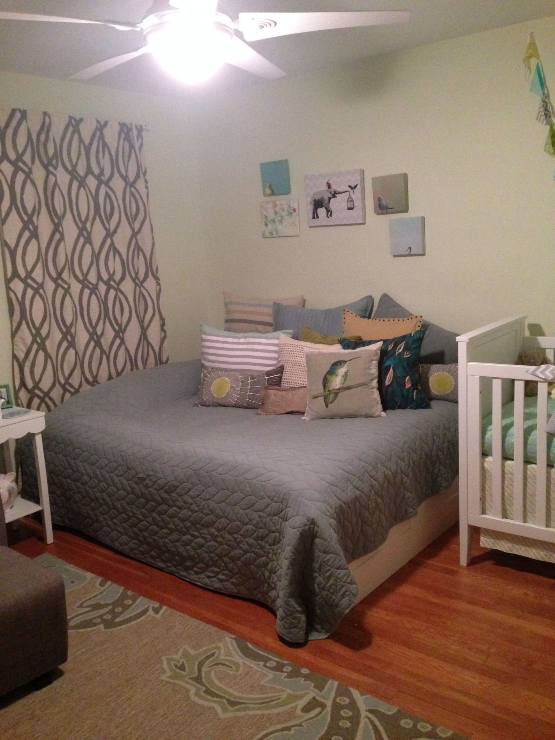Queen bed turned into day bed/sitting area in nursery  Queen beds  - Baby Room With Queen Bed