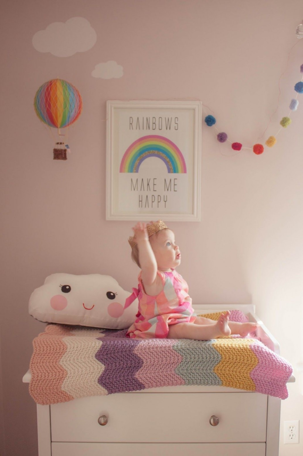 Rainbow Nursery Girls Baby Air Balloon Cloud  Baby girl room  - Baby Room Rainbow