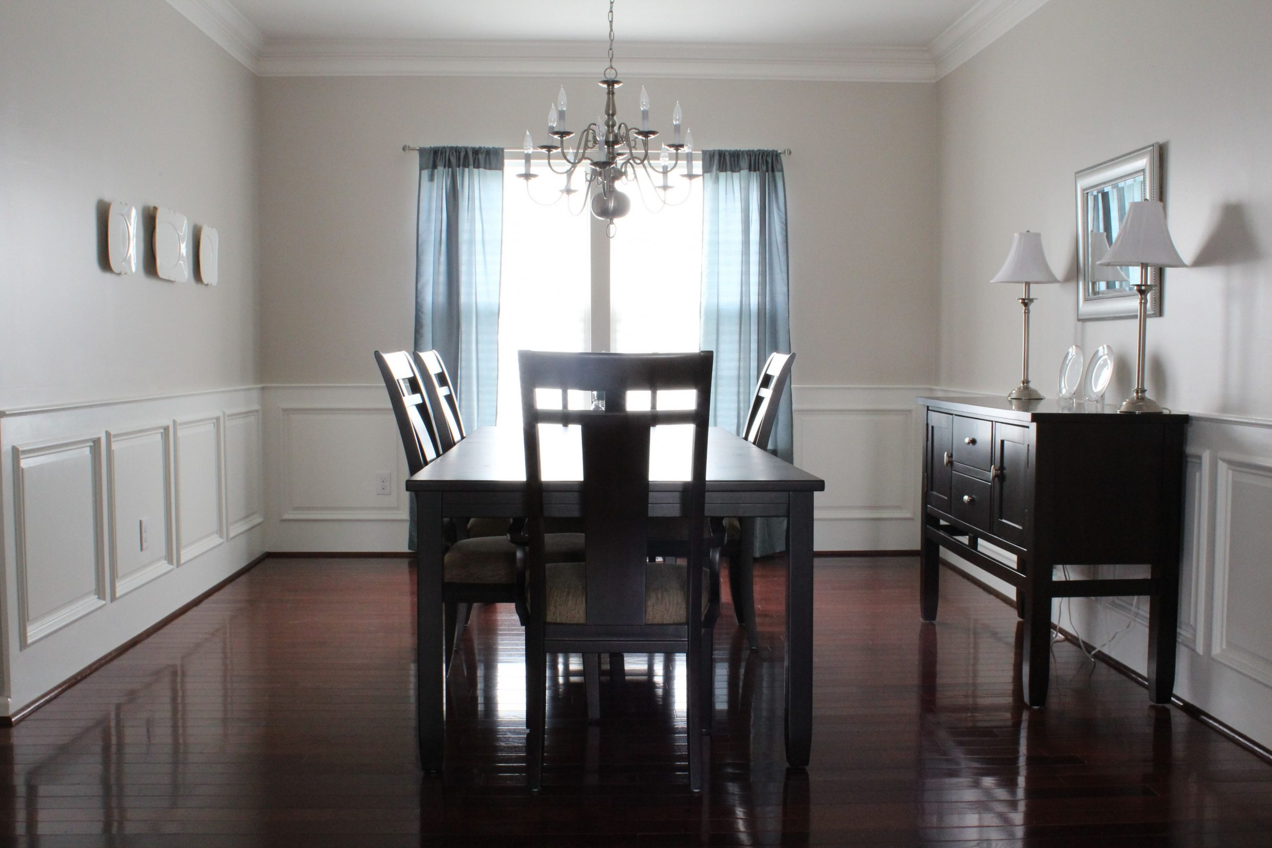 raised panel wainscoting in dining room