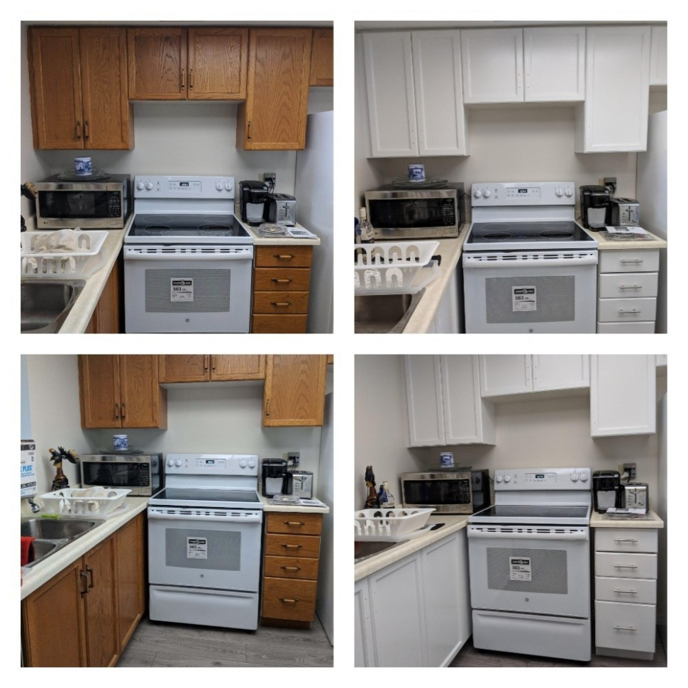 Refinishing And Painting Kitchen Cabinets Before And After Pictures - Kitchen Cabinet Painting Toronto