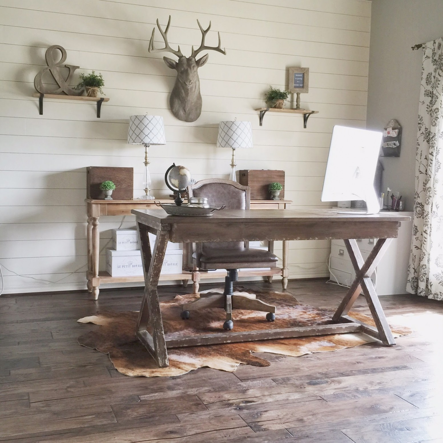 Remodelaholic  Rustic Modern Home Office Design Inspiration & Tips - Home Office Ideas Rustic