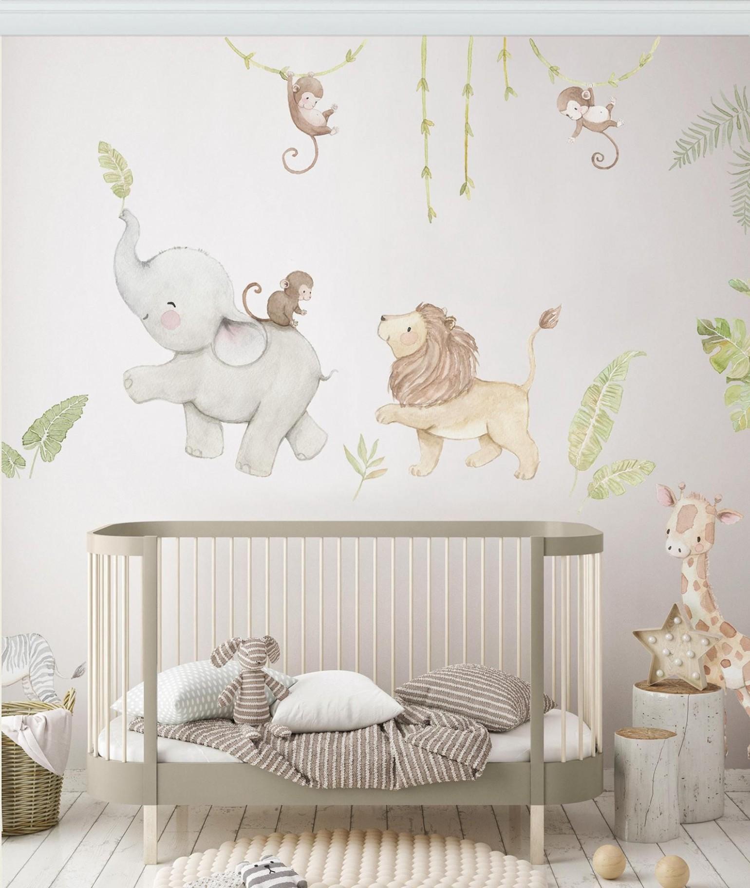 Reusable Fabric Wall Decal SAFARI ANIMALS Nursery wall  Etsy  - Baby Room Wall Decals