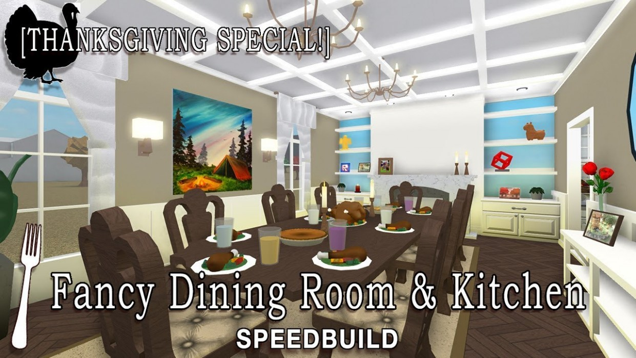 Roblox Bloxburg  Fancy Dining Room + Kitchen Speedbuild [Thanksgiving  Special!] - Dining Room Ideas Bloxburg