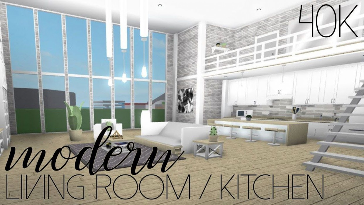 ROBLOX  Welcome to Bloxburg: Modern Living Room/Kitchen 9k  - Dining Room Ideas Bloxburg