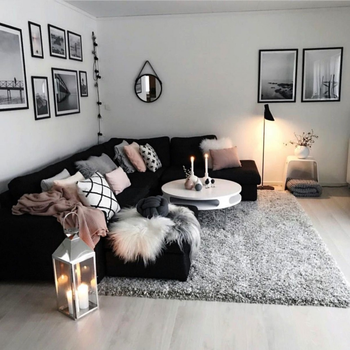 roomblack #modern #living #black #white #cozy #grey #pink #room  - Apartment Decor Ideas Xxi