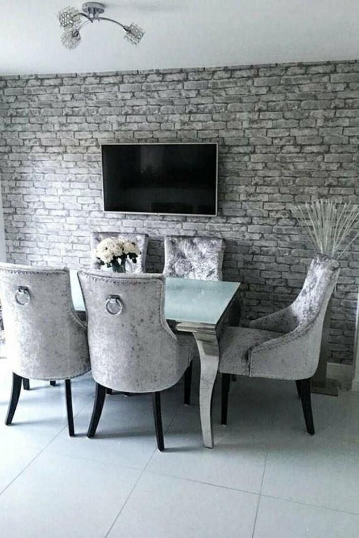 Rustic Brick Wallpaper Silver, Grey  Brick wallpaper dining room  - Dining Room Wallpaper Ideas Uk