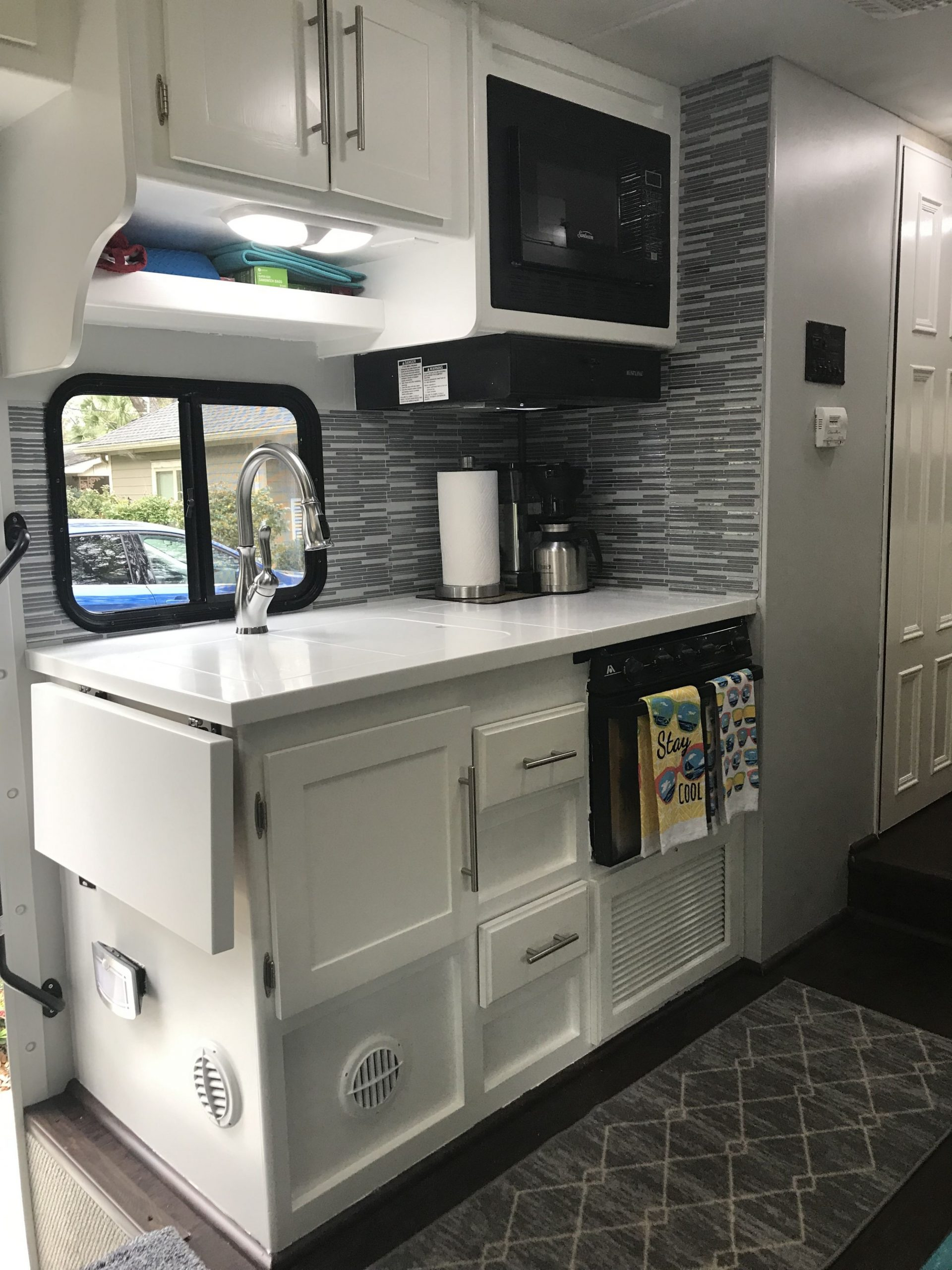 RV Kitchen makeover remodel painted cabinets  White kitchen  - Motorhome Kitchen Cabinets