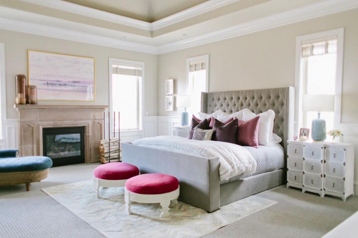 Serene Master Bedroom Boasts Color and Functionality  House of  - Bedroom Ideas Jade