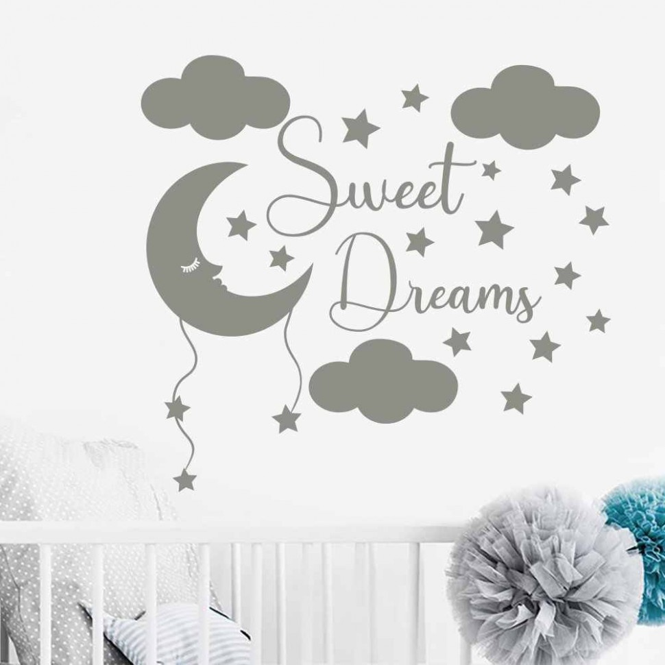 Sleeping Moon And Star Cloud Wall Sticker for Baby Room Vinyl Art Nursery  Quote Wall Decal Boys Girls Room Decor Mural G9 - Baby Room Vinyl Wall Art