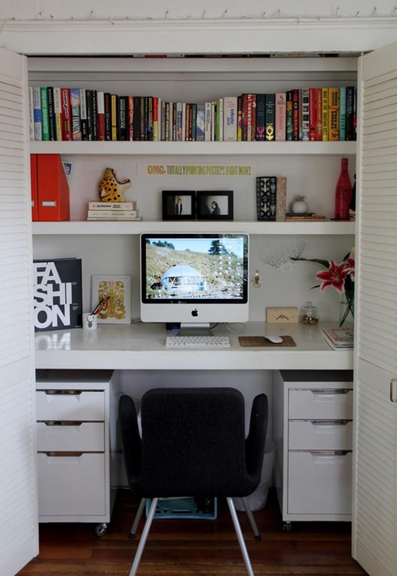 Small Apartment Design Idea - Create A Home Office In A Closet - Closet Office Ideas