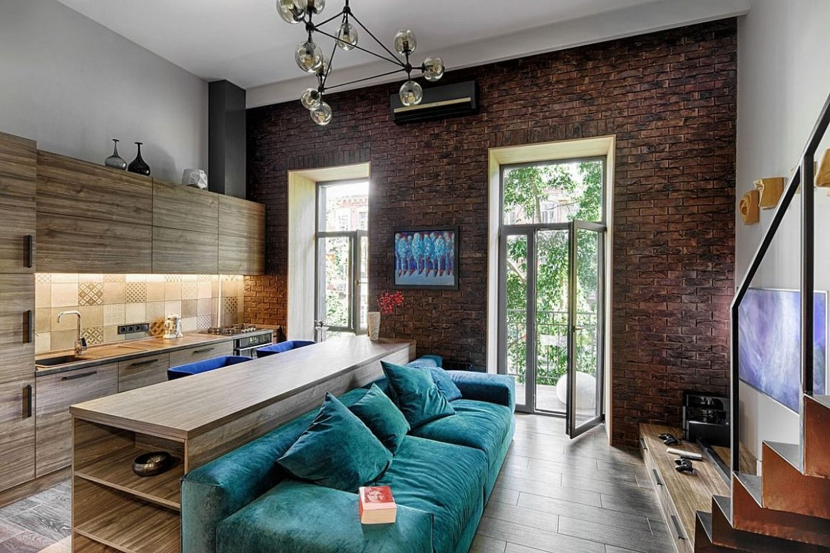 Small apartment living room with large windows beautiful cobalt  - Apartment Design Large Windows