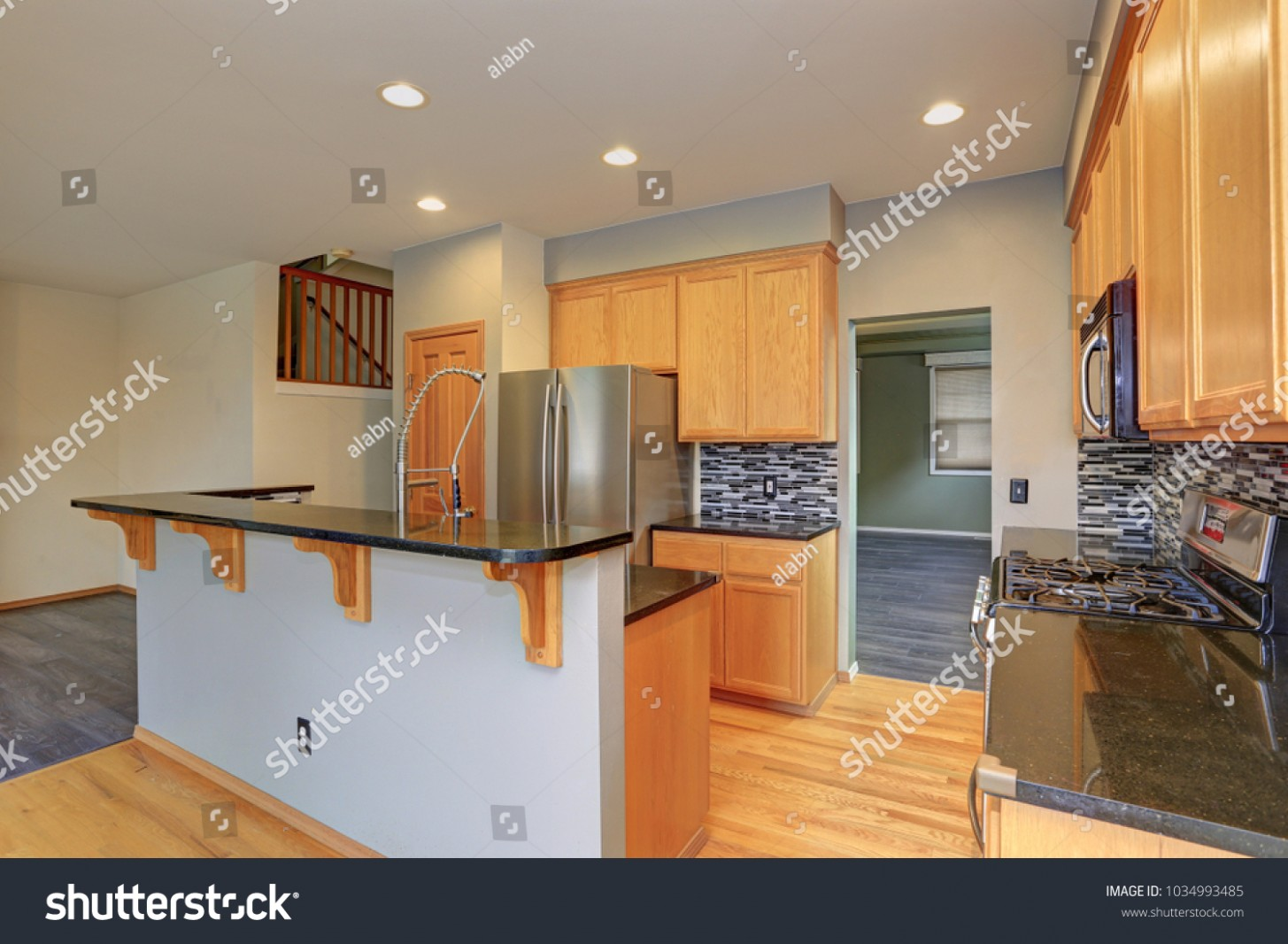 Small Compact Kitchen Room Light Wood Stock Photo (Edit Now  - Kitchen Backsplash With Light Wood Cabinets