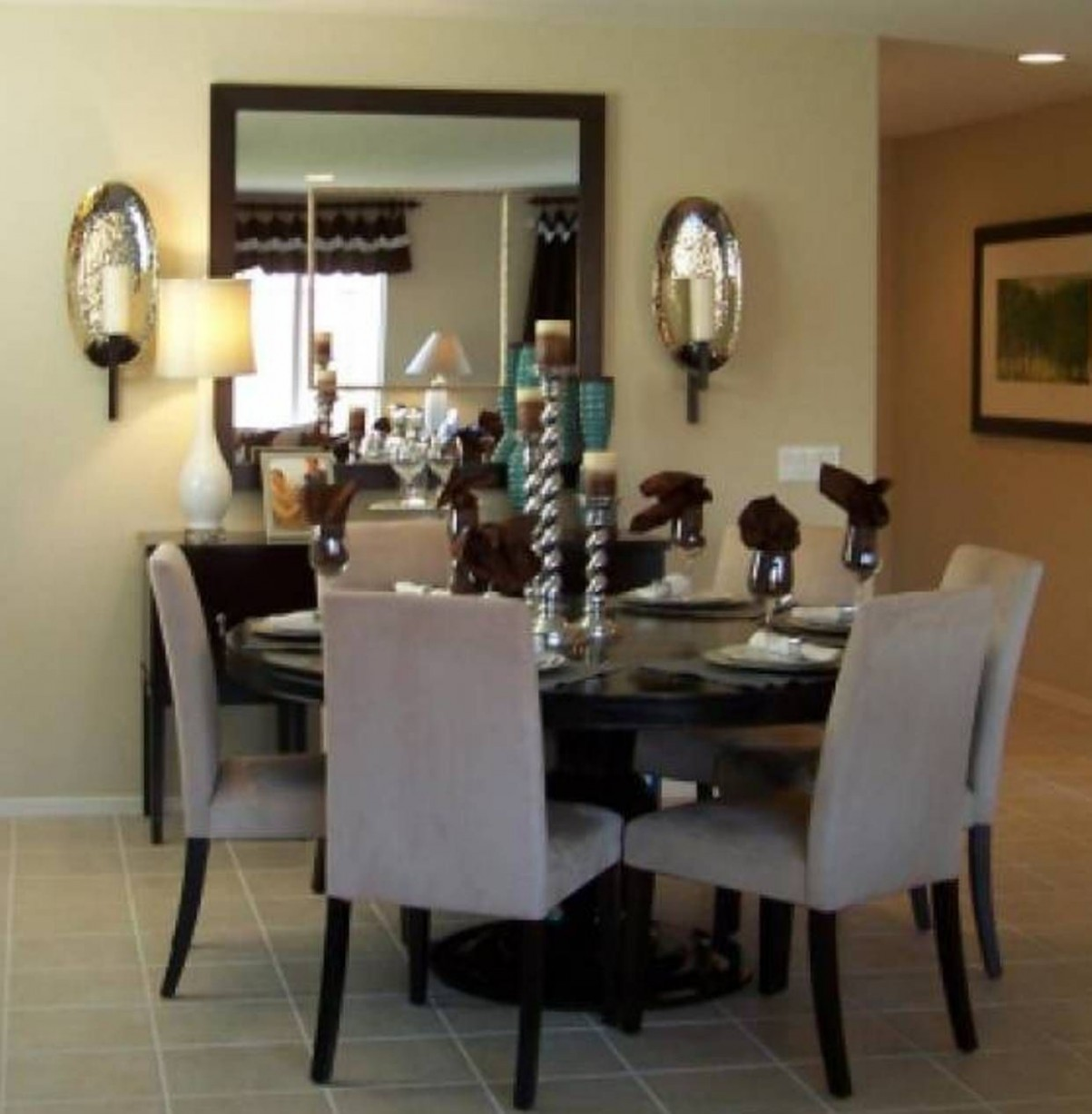 Small Dining Room Decorating With Square Mirror  Dining room  - Dining Room Ideas Mirror