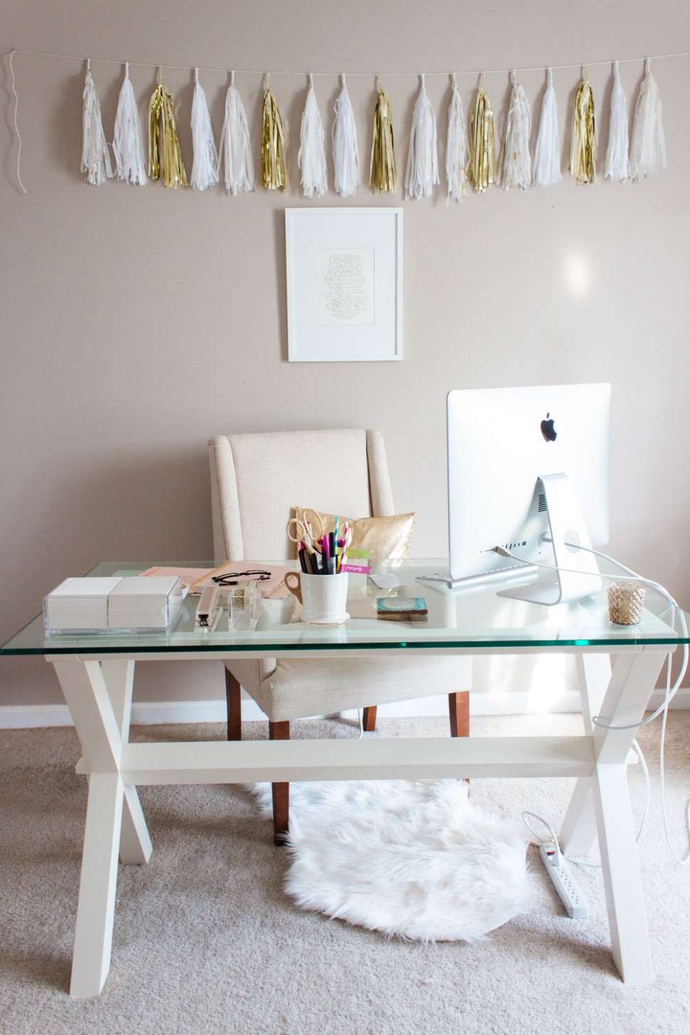 Small Home Office Design Ideas - Glass Desk — Hello Lovely Living - Home Office Ideas With Glass Desk