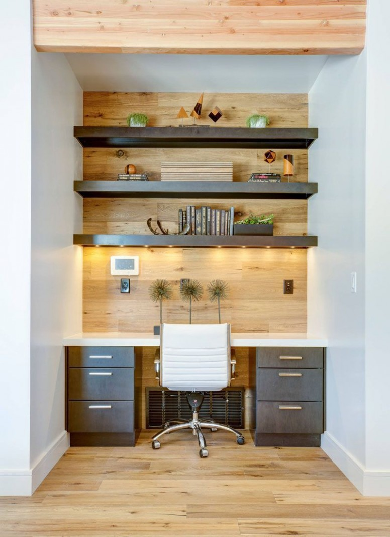 Small Home Office Idea – Make use of a small space and tuck your  - Narrow Home Office Ideas