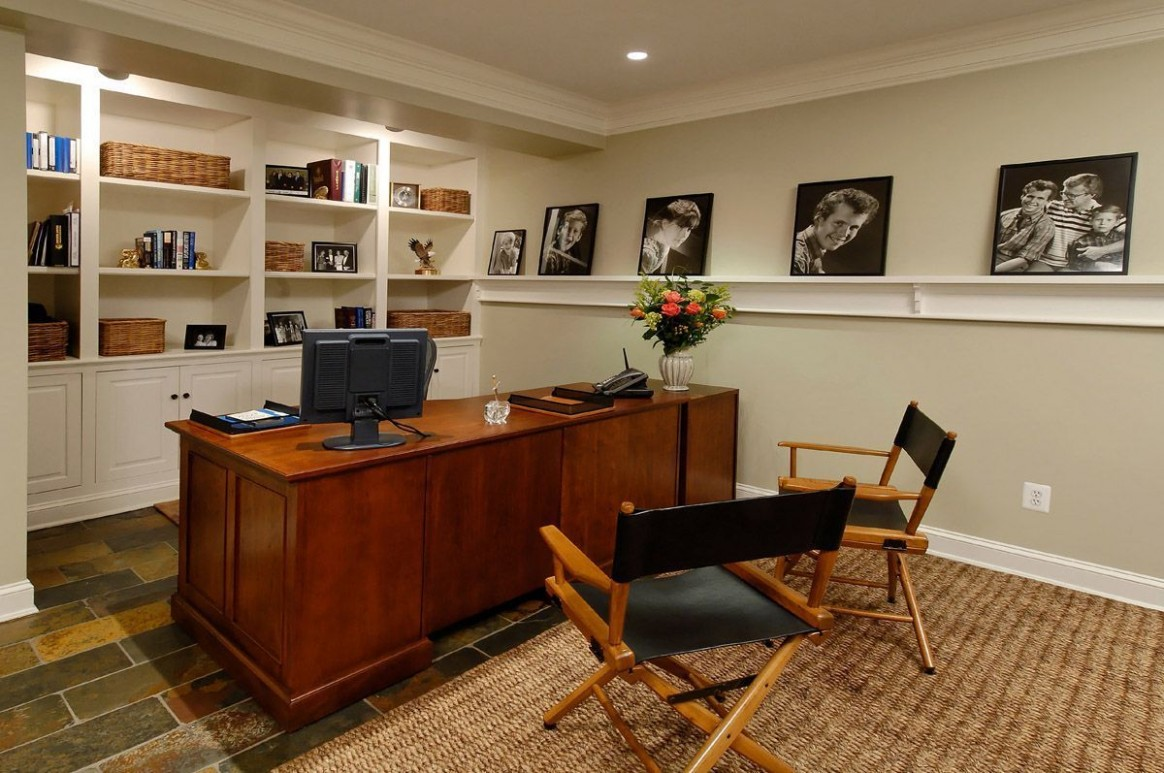 Small Office Decorating  Basement home office, Contemporary  - Home Office Ideas In Basement