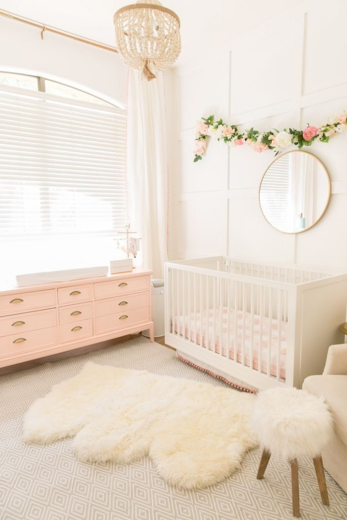 Soft pink and white nursery with beaded chandelier and floral  - Baby Room Chandelier