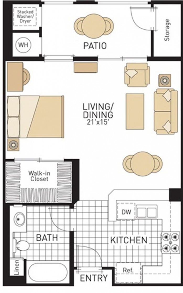 studio-apartment-plan-and-layout-design-with-storage  - Apartment Design And Floor Plan