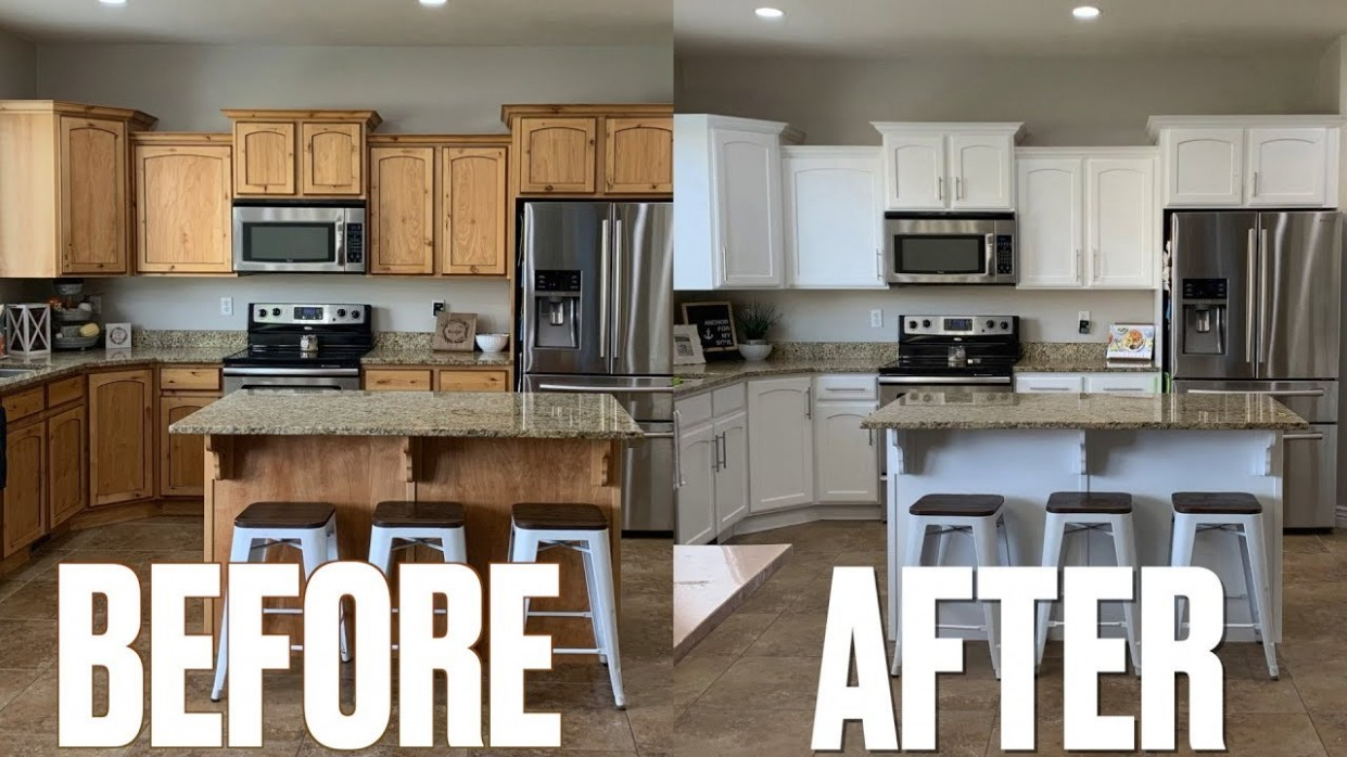 STUNNING KITCHEN MAKEOVER BEFORE & AFTER  NEW LOOK KITCHEN CABINETS   UPDATING KITCHEN ON A BUDGET - How To Make Kitchen Cabinets Look New