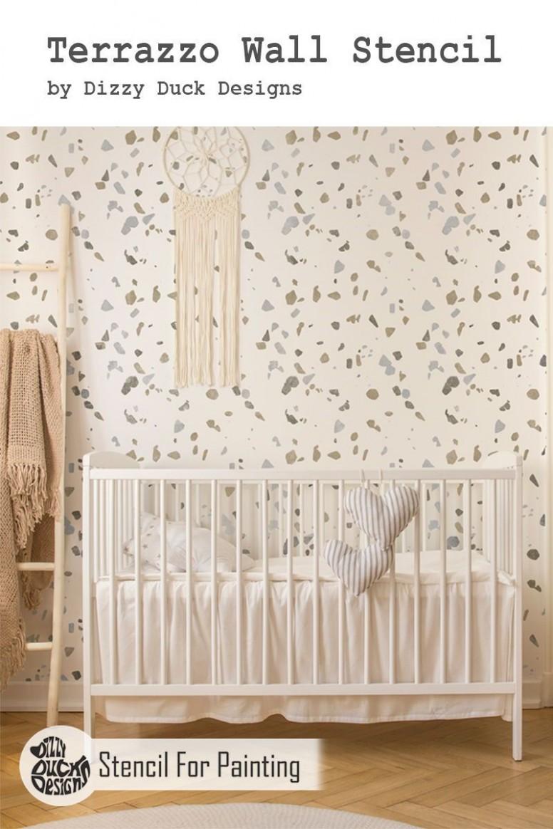 TERRAZZO Stencil  Baby room decor, Wallpaper accent wall, Accent  - Baby Room Stencils