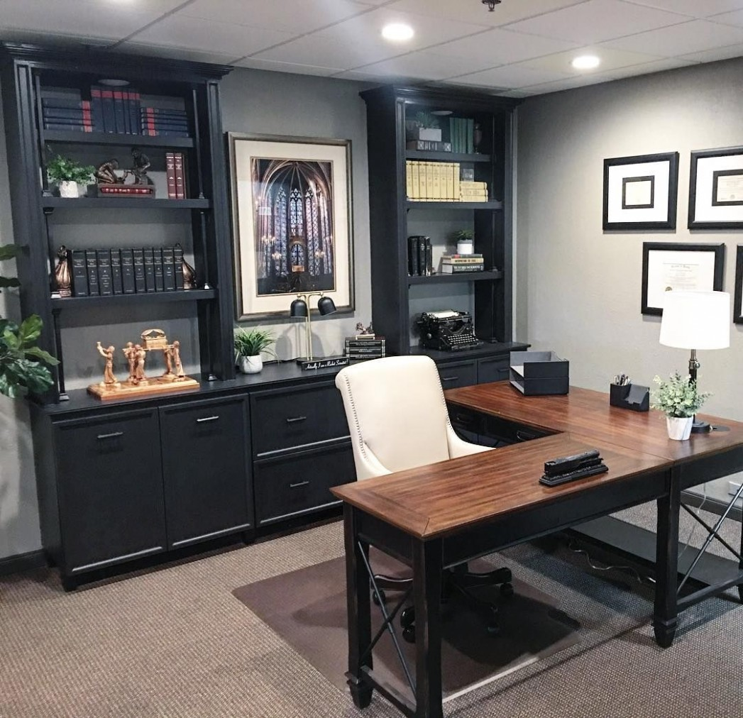 The Hartford Open L Shaped desk is a perfect fit for this stylish  - Home Office Ideas With L Shaped Desk