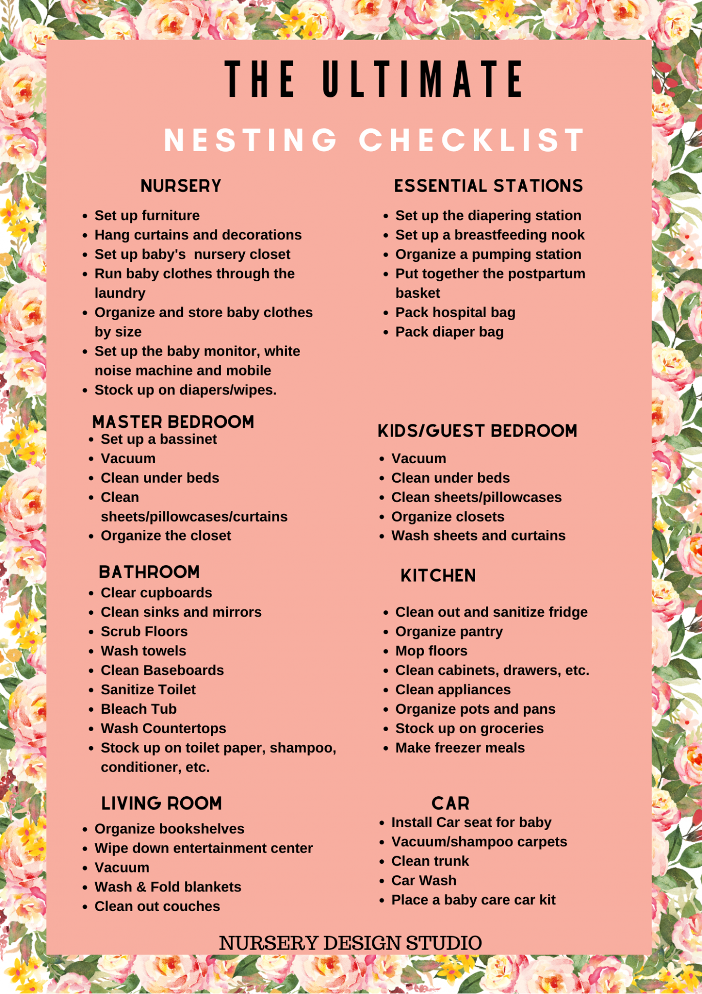 THE ULTIMATE NESTING CHECKLIST FOR NESTING MOMS AND PRINTABLE  - Baby Room Checklist