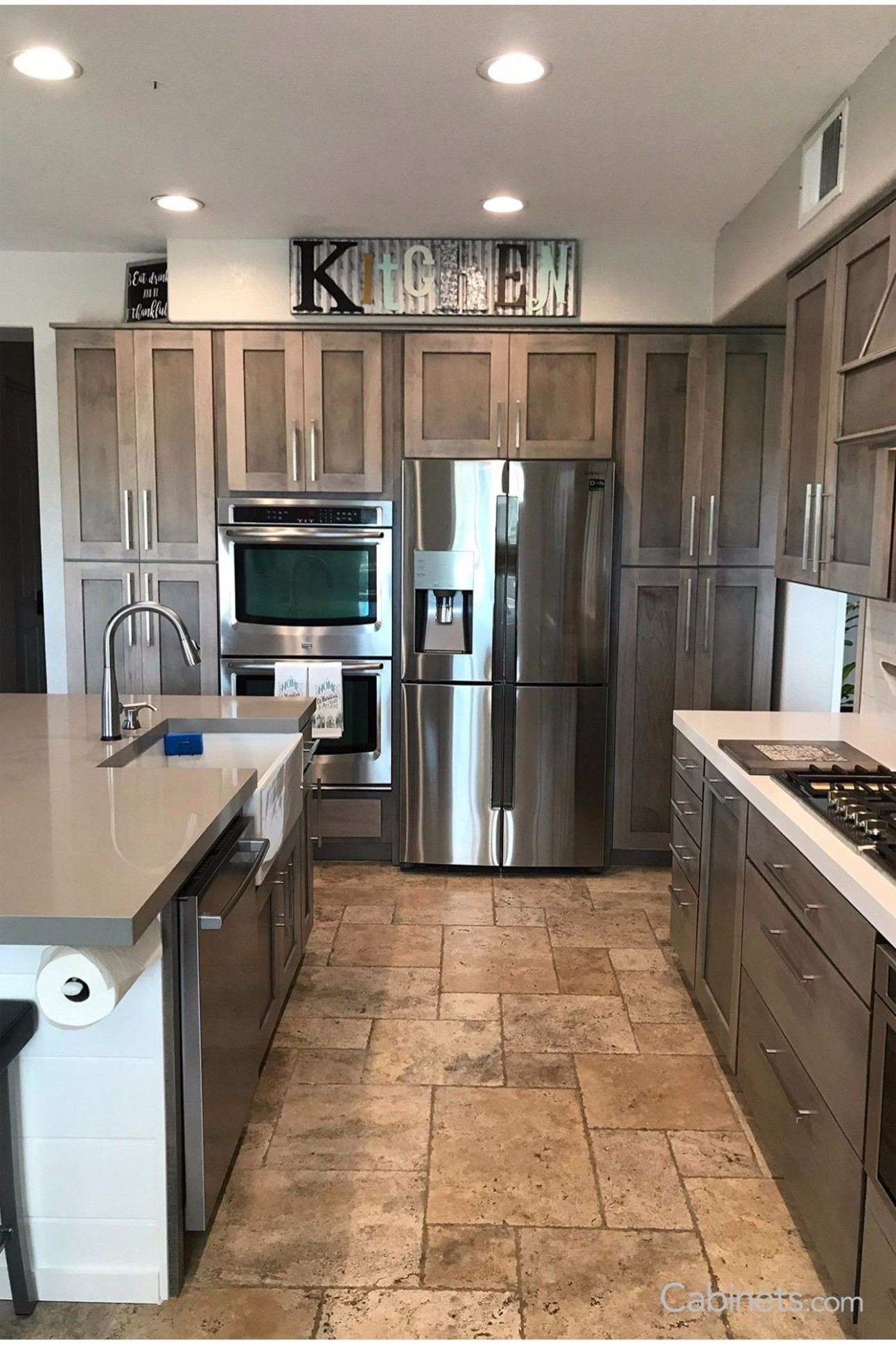 This farmhouse-modern kitchen features Shaker cabinets in our new  - Beautiful Kitchen Cabinets For Sale