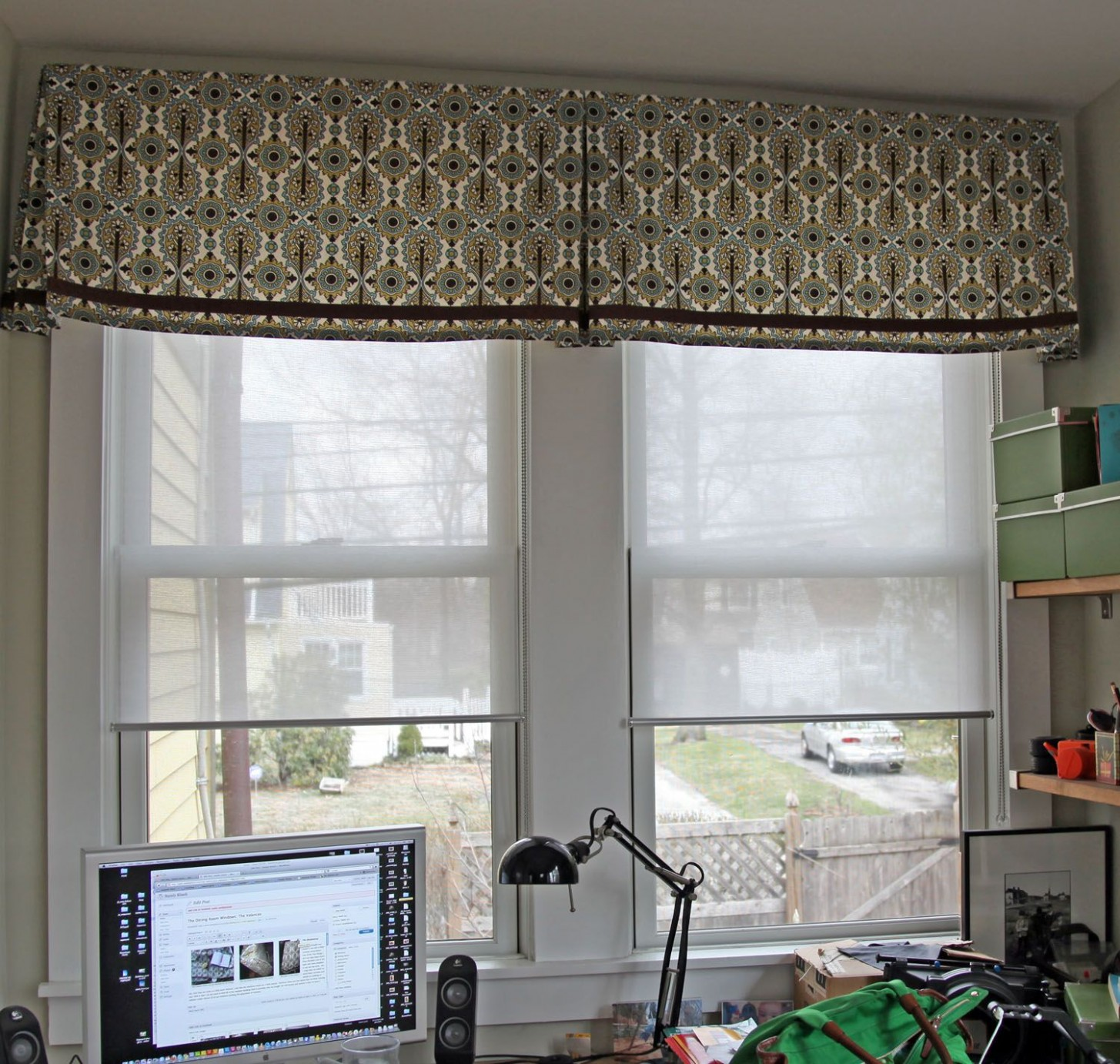 This required 11 pieces of fabric sewn together and hidden in the  - Dining Room Window Valance Ideas