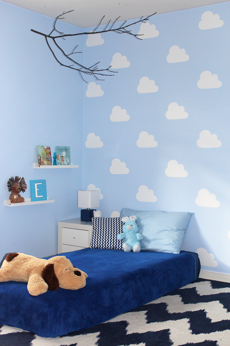 Toddler or baby cloud wall with DIY cloud stencil