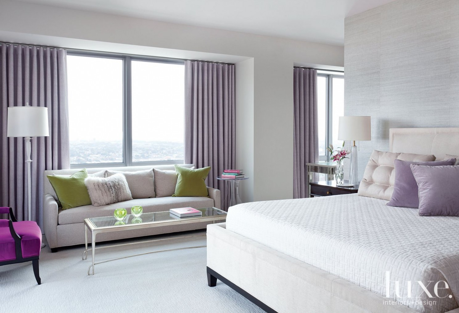 Transitional Neutral Master Bedroom with Lavender Accents  - Bedroom Ideas Lavender
