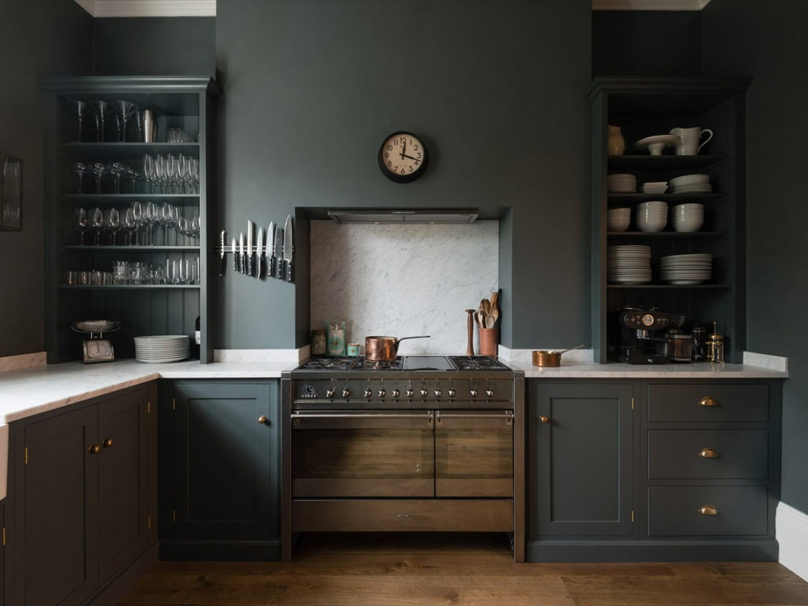 Trend Alert: 8 Favorite, Time-Tested Dark Green Kitchens  - Green Kitchen With Dark Cabinet