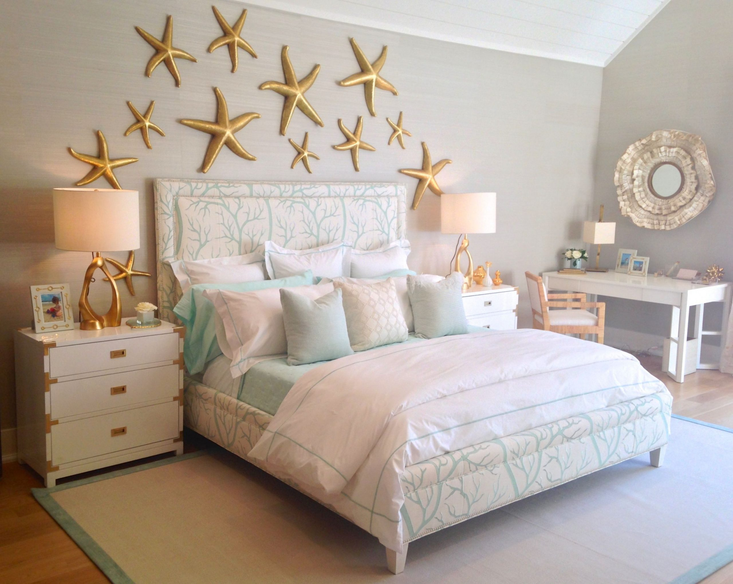 under the sea themed bedroom with a coral print upholstered bed  - Bedroom Ideas Themes