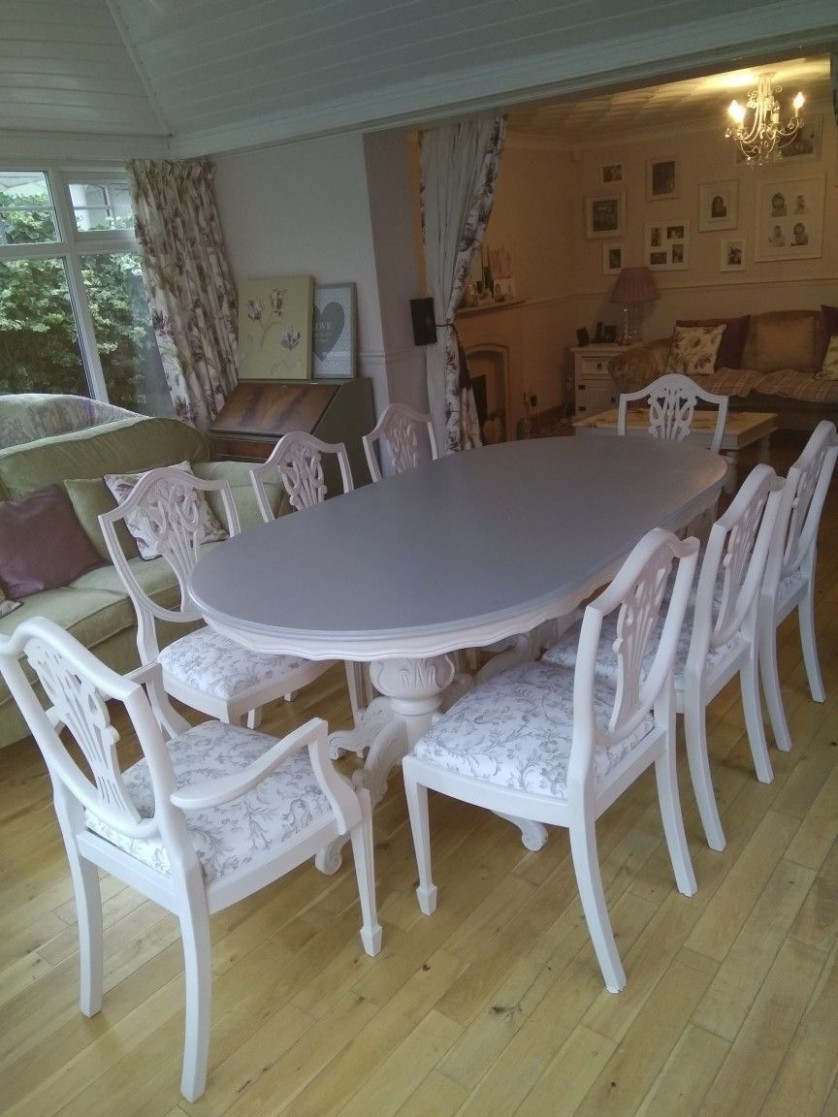 Upcycled table and chairs in grey and white