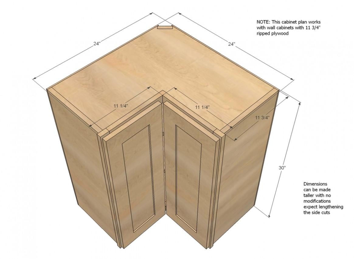 Wall Corner Pie Cut Kitchen Cabinet  Ana White - 24 Inch Corner Kitchen Base Cabinet