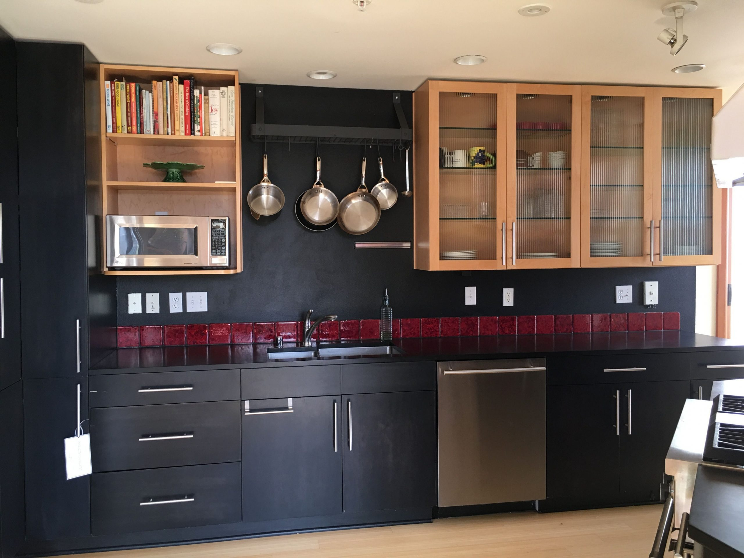 Wall shelving will be replaced with matching reeled glass-front  - Shorter Kitchen Base Cabinets