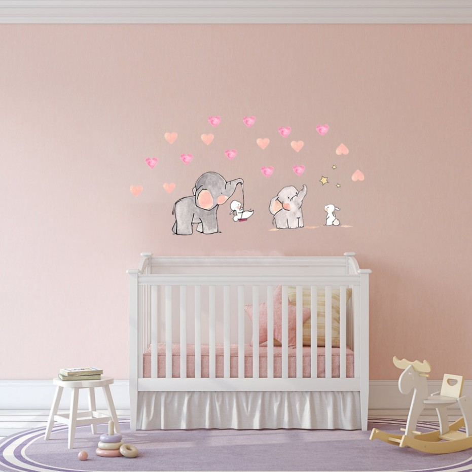 wall Sticker for baby room Cute animal elephant rabbit vinyl wall decals  for kids nursery girls room wall decoration - Baby Room Decals