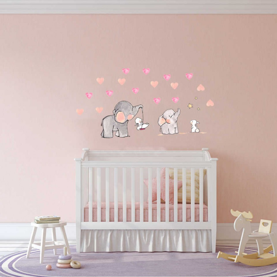 wall Sticker for baby room Cute animal elephant rabbit vinyl wall decals  for kids nursery girls room wall decoration - Baby Room Wall